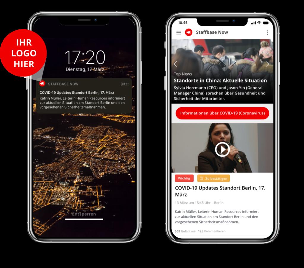 Push-Nachricht und News Feed in der Staffbase NOW App